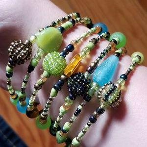 Beaded wide cuff bracelet green blue brown yellow